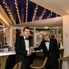 Woody Allen and Jesse Eisenberg at Mouton Cadet Wine Bar Cannes Film Festival 2016